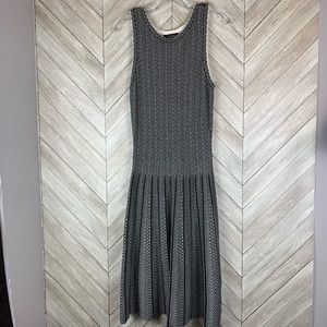 Ann Taylor b&w patterned pleated dress small tall